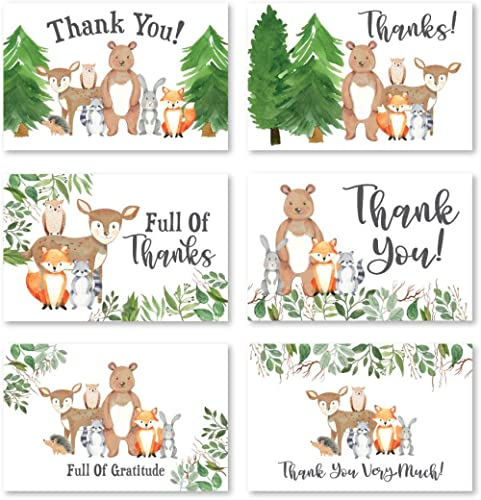 24 Woodland Thank You Cards With Envelopes, Kids or Baby Shower Thank You Note, Rustic Animal Deer or Fox, 4x6 Varied...