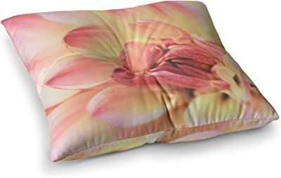 23 x 23 Square Floor Pillow Kess InHouse Cafelab Sweet Tropical White Pink Abstract