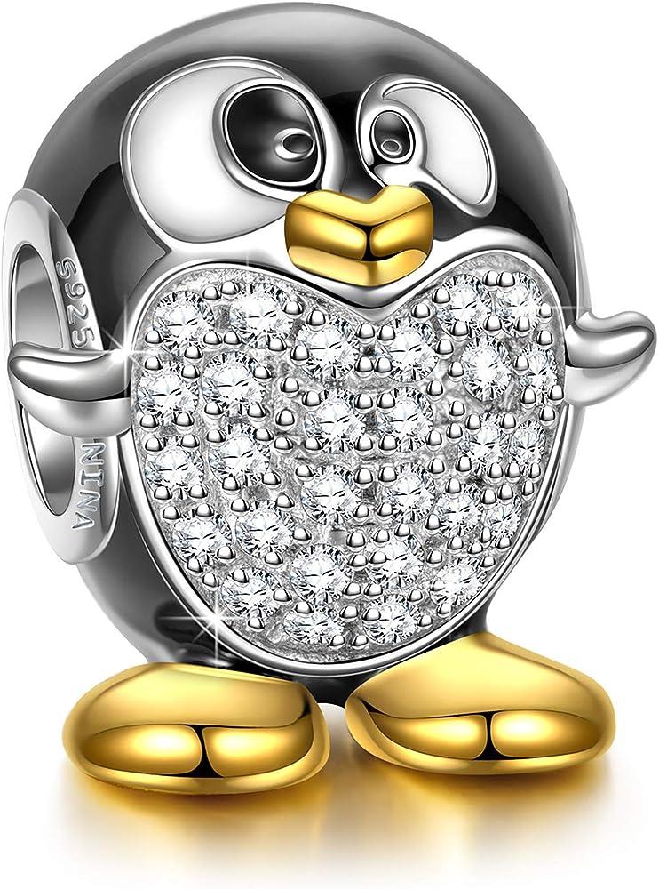 Ninaqueen,charm ,ciondolo a forma di pinguino,in argento sterling 925,compatibile con bracciali pandora NQCT5436BWL