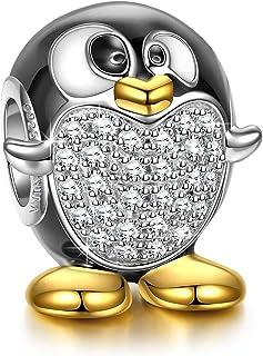 NINAQUEEN® Charm - Animale Ciondoli Argento Sterling 925 Gufo Uccello di Saggezza Smalto Regalo Donna con Scatola di Gioie...