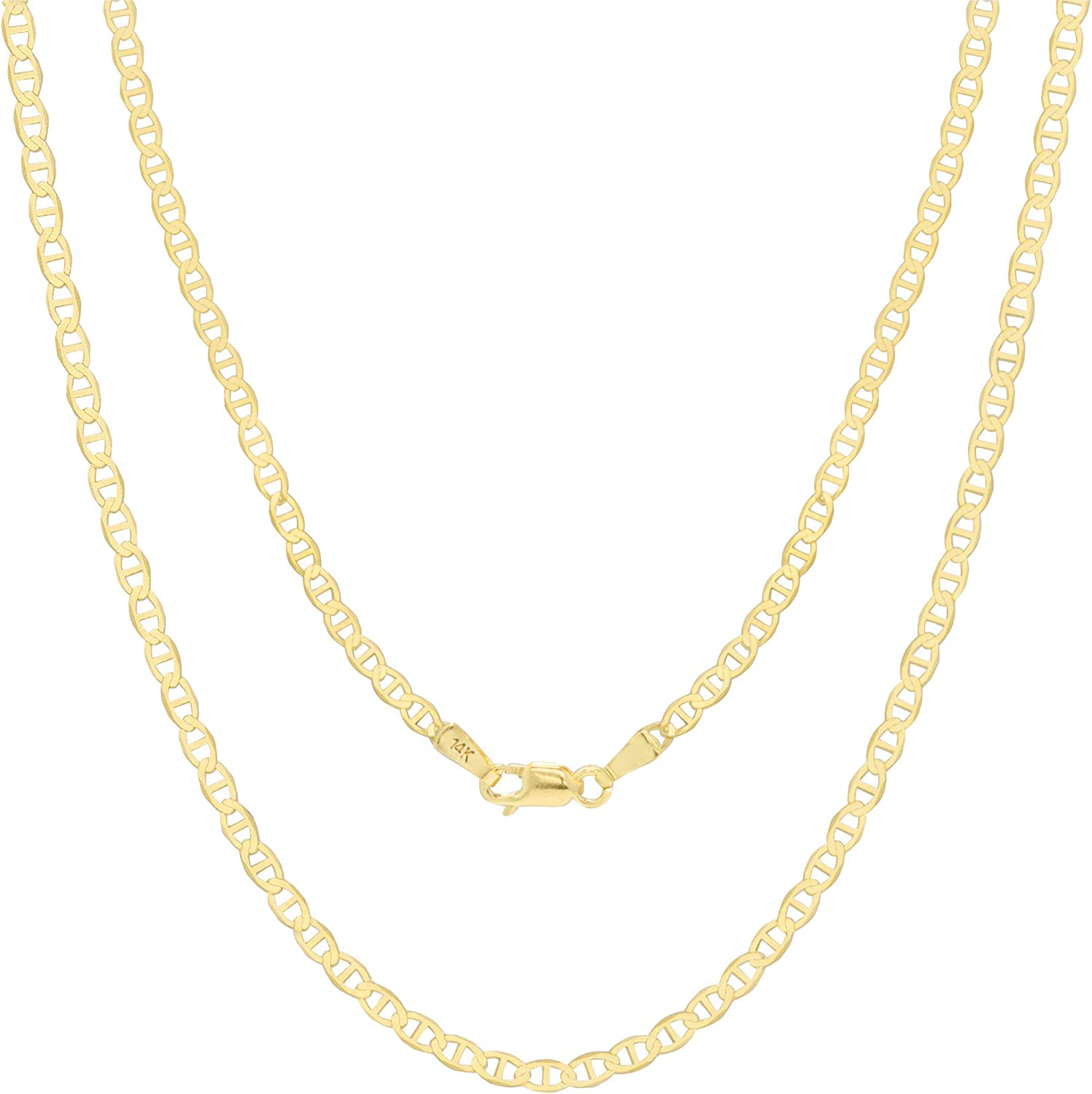 Nuragold 14k Yellow Gold Solid 3mm Anchor Mariner Link Chain Pendant Necklace, Mens Womens Lobster Lock 16