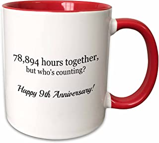 3dRose Happy 9Th Anniversary-78894 Hours Together Mug, 11 oz, Red
