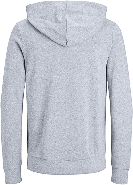 Men Hoodies Plain Drawstring Zipper Athletic Sweatshirt Casual Long Sleeve Pullover Workout Hooded Tops