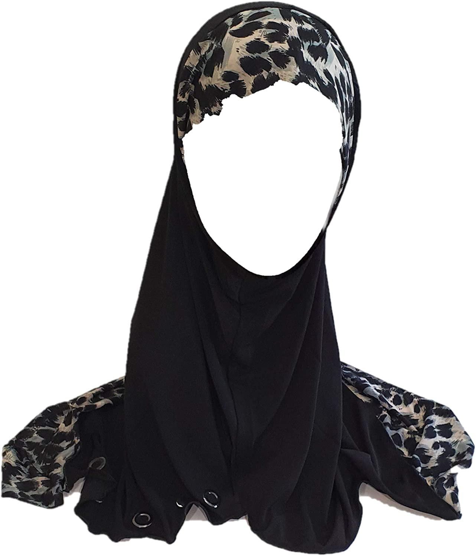 Black Gray One Piece Slip-On Leopard Zebra Pattren Muslim Hijab Head cover