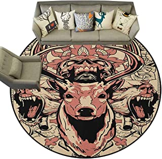 Hedda Clare Distressed Style Circular Rug,Deer,Modern Artsy Illustration of Skull and Wolves with Floral Design Majestic Antler, Black Beige Pink,Anti-Skid Area Rug 4.6