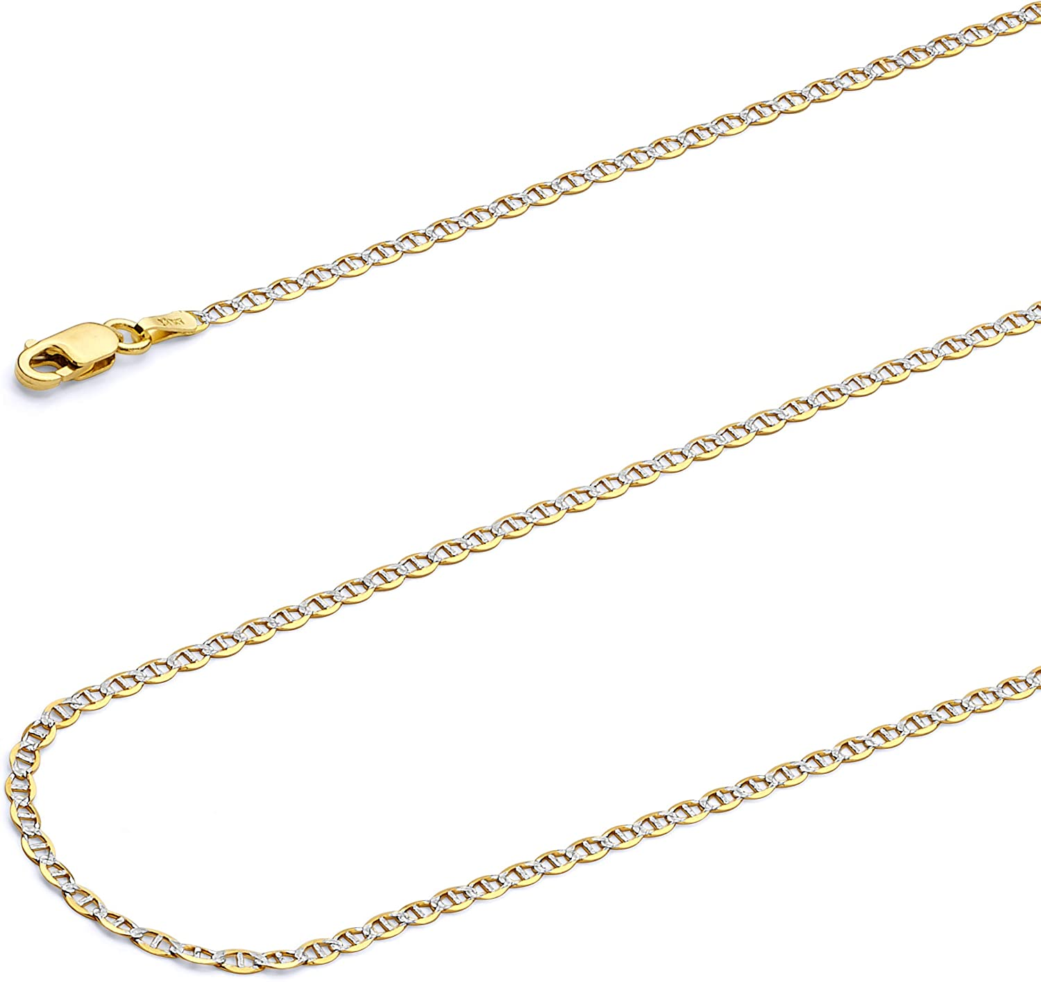 Wellingsale 14k Two Tone Yellow and White Gold Brilliant Solid 2mm Flat Mariner White Pave Diamond Cut Chain Necklace with Lobster Claw Clasp