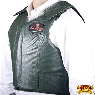 Hilason Bull Riding Pro Rodeo Leather Vest Gear Equipment Green