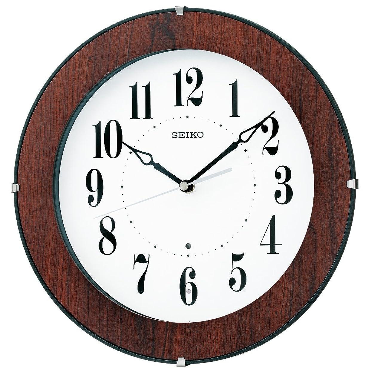 写真思いつくナビゲーションセイコー クロック 掛け時計 電波 アナログ 木枠 茶 木目 KX392B SEIKO