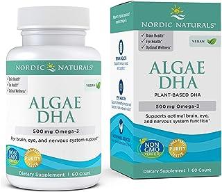 Nordic Naturals Algae DHA - 500 mg Omega-3 DHA - 60 Soft Gels - Certified Vegan Algae Oil - Plant-Based DHA - Brain, Eye &...