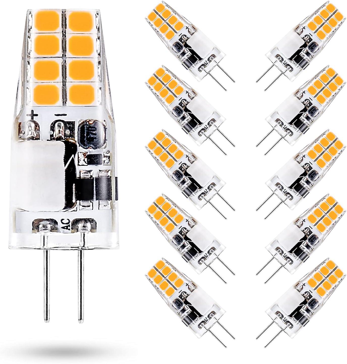 ONSTUY 3W Bombilla LED G4,Equivalente a 35W Halógeno Bombillas,3000K Blanco Cálido,300 Lúmenes,AC/DC 12V,No Regulable, Sin Parpadeo,Paquete de 10