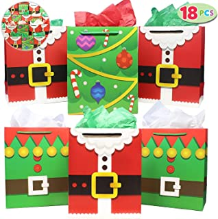 18 Pack of Santa Claus Suit Medium Gift Bags; 3 Christmas Designs Goodie Bags for Classrooms, Party Favors, Small Gift Bags, Kraft Holiday Gift Bags and Christmas Craft Bags by Joiedomi
