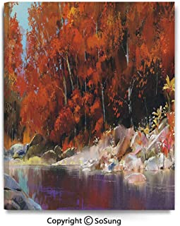 Home Decoration Painting Wall Mural River with Rocks Autumn Forest Peaceful Artistic Paint of Scenic Woods Art Living Room Dining Room Studying Aisle Painting,12x18inches Ginger Purple