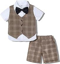 mintgreen Conjunto de Camisa de Manga Corta Traje para Bebé Niños Caballero con Pajarita + Chaleco a Cuadros + Pantalones, 1-5 años