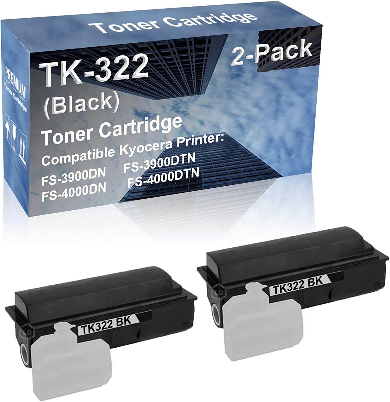 2-Pack Compatible High Capacity TK322 (TK-322) Imaging Toner Cartridge use for Kyocera FS-3900DN FS-3900DTN FS-4000DN FS-4000DTN Printer (Black)