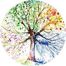 Goodbath Color Tree Round Rug, Four-Season Forest Tree of Life Non Slip Area Rug Washable Bedroom Living Room Study Playin...
