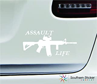 Assault life gun 7x3.3 white gun second amendment united states color sticker state decal vinyl - Made and Shipped in USA
