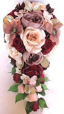 Amazon Com Wedding Bouquet 17 Piece Package Bridal Bouquets Silk Flower Bouquet Burgundy Blush Peach Mauve Gold Bridal Flowers Centerpiece Rosesanddreams Home Kitchen