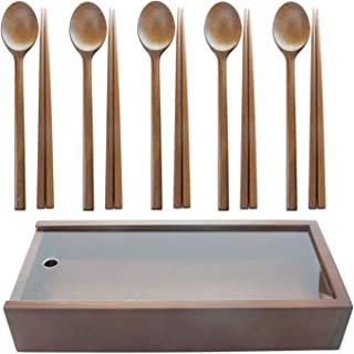 The Elixir Eco Green Handmade Wooden Spoon Chopstick Set with Container, 5 Set of Spoon and Chopsticks, Korean Dinnerware