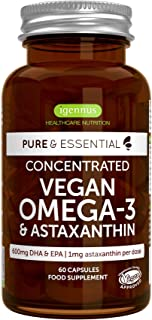 Pure & Essential Vegan Omega 3 DHA EPA 600mg, Algae Oil 1340mg & Astaxanthin, 60 Softgels