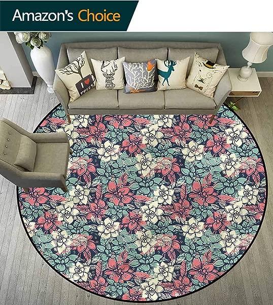 RUGSMAT Abstract Anti Skid Area Rug Vintage Summer Garden Pattern Floor Seat Pad Home Decorative Indoor Diameter 71