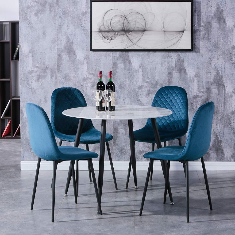 GOLDFAN Dining Table with 9 Chairs Marble Glass Table and Blue ...