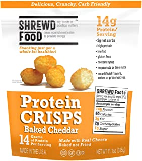 Shrewd Food Baked Cheddar Keto Protein Crisps 1 Large Bag | High Protein, Low Carb, Gluten Free Snacks | No Artificial Flavors | Soy Free, Peanut Free | 11.1 oz