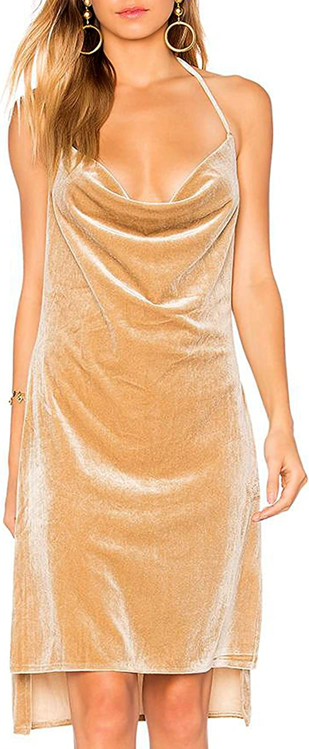 Bqueen Women's Brown Backless Halter Velvet Mini Dress BQ1BH5316