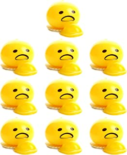 Weyoo 10 Pack Yellow Round Sucking & Vomiting Egg Yolk Emoji Stress Relief Toys Novelty Gag Toys