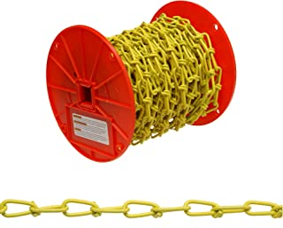 Campbell PD0722027 Low Carbon Steel Inco Double Loop Chain on Reel, Yellow Polycoated, 2/0 Trade, 0.14