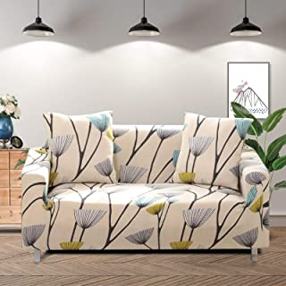Lamberia Printed Sofa Cover Stretch Couch Cover Sofa Slipcovers for 3 Cushion Couch with Two Free Pillow Case (Dandelion, ...