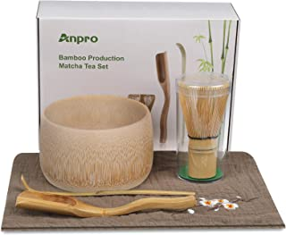 Anpro Bamboo Matcha Tea Whisk Set, Bamboo Whisk Holder Handmade Matcha Ceremony Starter Kit for Traditional Japanese Tea C...