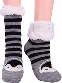 Womens Fuzzy Slipper Socks Fleece Lined Cozy Winter Ladies Cute Thermal Warm Home Socks with Grippers