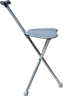 Folding Travel Cane with Seat Tripod Stool Hiking Walking Massage Or Golf Chair