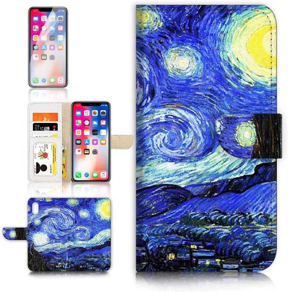 (for iPhone Xs MAX) Flip Wallet Case Cover & Screen Protector Bundle - A0066 The Starry Night Van Gogh