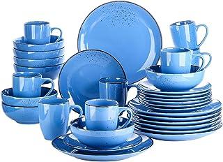 Dinnerware Sets 16/22 قطعة من الحجري أواني الطعام السيراميك مجموعة مع لوحة العشاء، لوحة الحلوى، 800ML وعاء، 380ML مجموعة ا...
