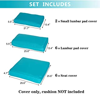 Kinbor Patio Wicker Furniture Sectional Sofa Seat Rattan Patio Seating Cushion Cover Set (Blue)