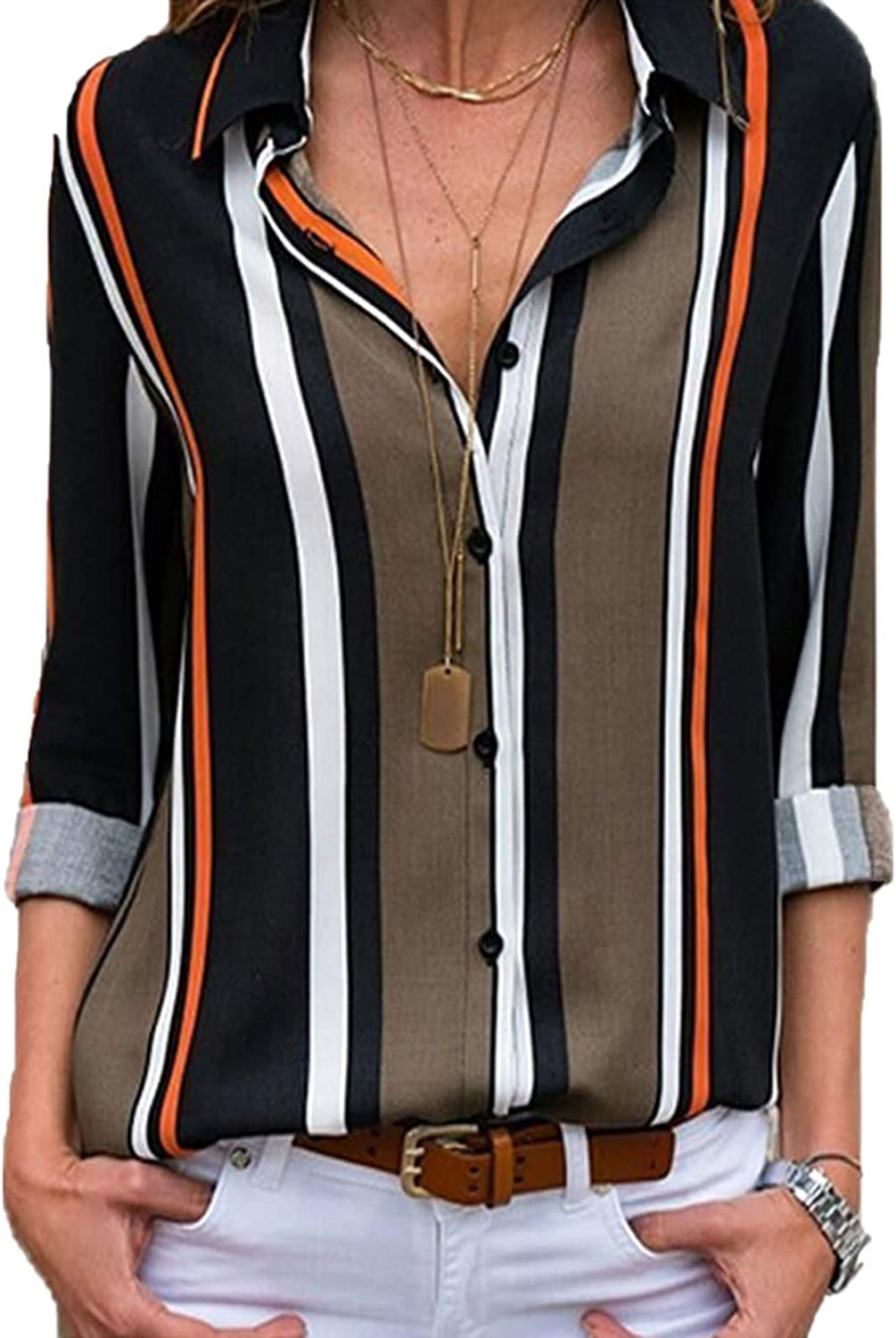 Lannychic Women's Stripes Button Down Shirts Roll-up Sleeve Tops V Neck Casual Work Blouses Tunics