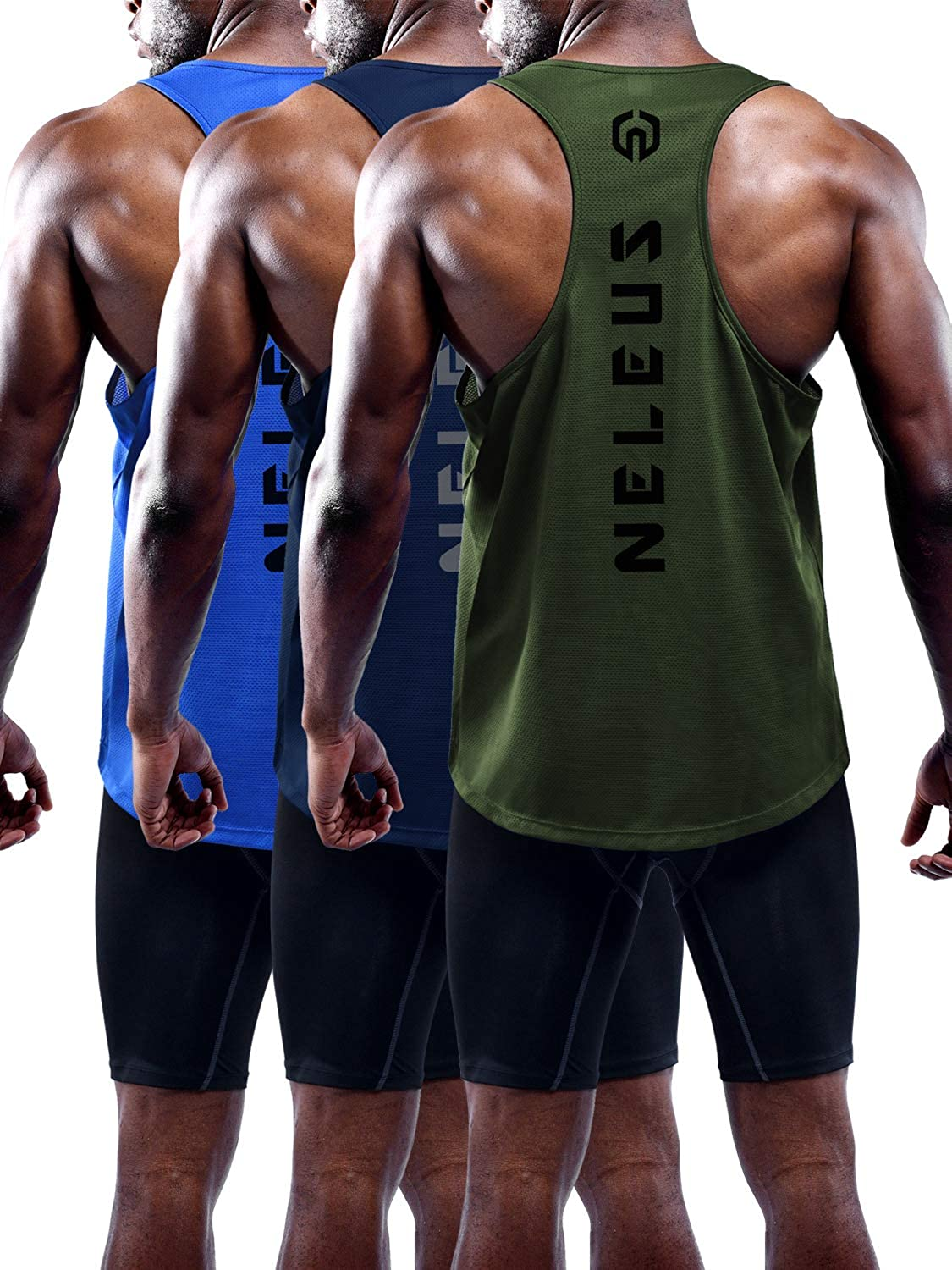 Neleus Men's 3 Pack Dry Top Tank Fit Japan Maker New Y-Back Outlet ☆ Free Shipping Muscle
