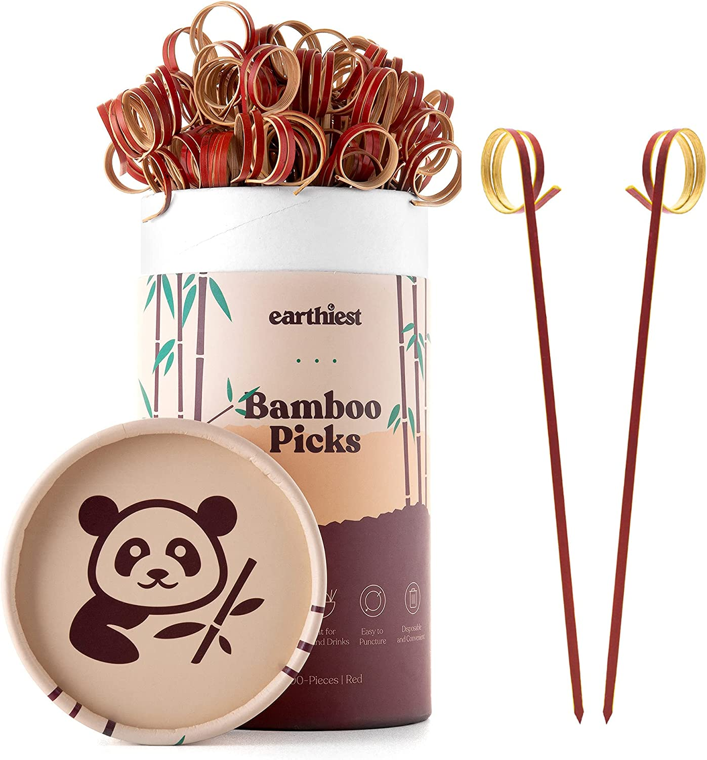 Bamboo Loop Cocktail Picks for Appetizers – 6 inch Red Bamboo Skewers (100 Pack) – Bamboo Food Picks – Party Toothpicks for Appetizers Fruits and Cocktail Drinks