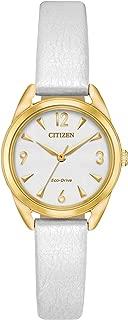 Citizen Women's Drive Stainless Steel Quartz Leather Calfskin Strap, White, 12 Casual Watch (Model: EM0682-07A)