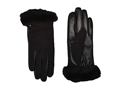 UGG Fabric Leather Shorty Tech Gloves with Sherpa Lining (Black) Extreme Cold Weather Gloves