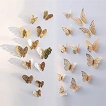 NATEE 24 STKS Gouden Vlinder Muurstickers, 3D Vlinders Muurstickers Verwijderbare Muurschildering Decor Muurstickers Decal...
