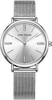 MINI FOCUS Fashion Stainless Steel Mesh Band Women Dress Watch with Brief Rhinestone Index