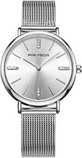MINI FOCUS Fashion Stainless Steel Mesh Band Women Dress Watch with Brief Rhinestone Index