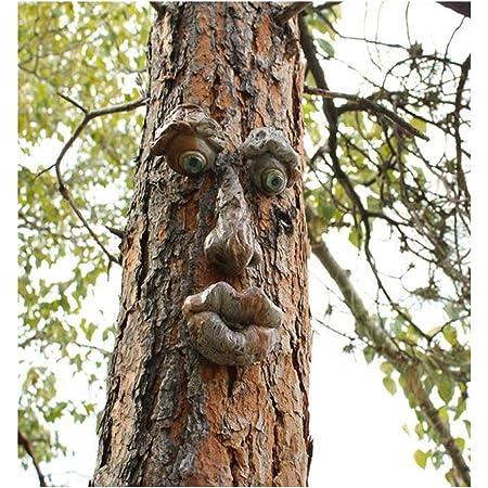 Vieil Homme Tree Hugger,Jardin Peeker Yard Art,Yard Art Sculpture Décorations Extérieur Sculpture Arbre Visage Jardin Arrière-Cour Décoration, Drôle de Résine Arbre Visage Birdfeeder (C)