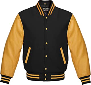 Premium Letterman Baseball School College Bomber Varsity Jacket Wool Blend & Genuine Leather Sleeves