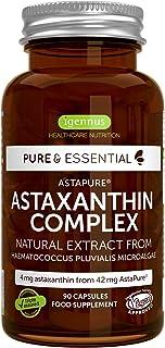 Pure &Essential Astaxantina Naturale, Complesso Antiossidante di AstaPure da 42 mg, con luteina e zeaxantina, vegan, 90 ca...