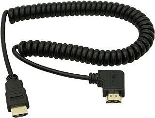 Cable HDMI macho a HDMI de ángulo izquierdo Cerrxian, HDMI macho a HDMI macho, chapado en oro, cable en espiral, compatible con 2K 4K (30 Hz), retorno de audio (ángulo izquierdo HDMI)