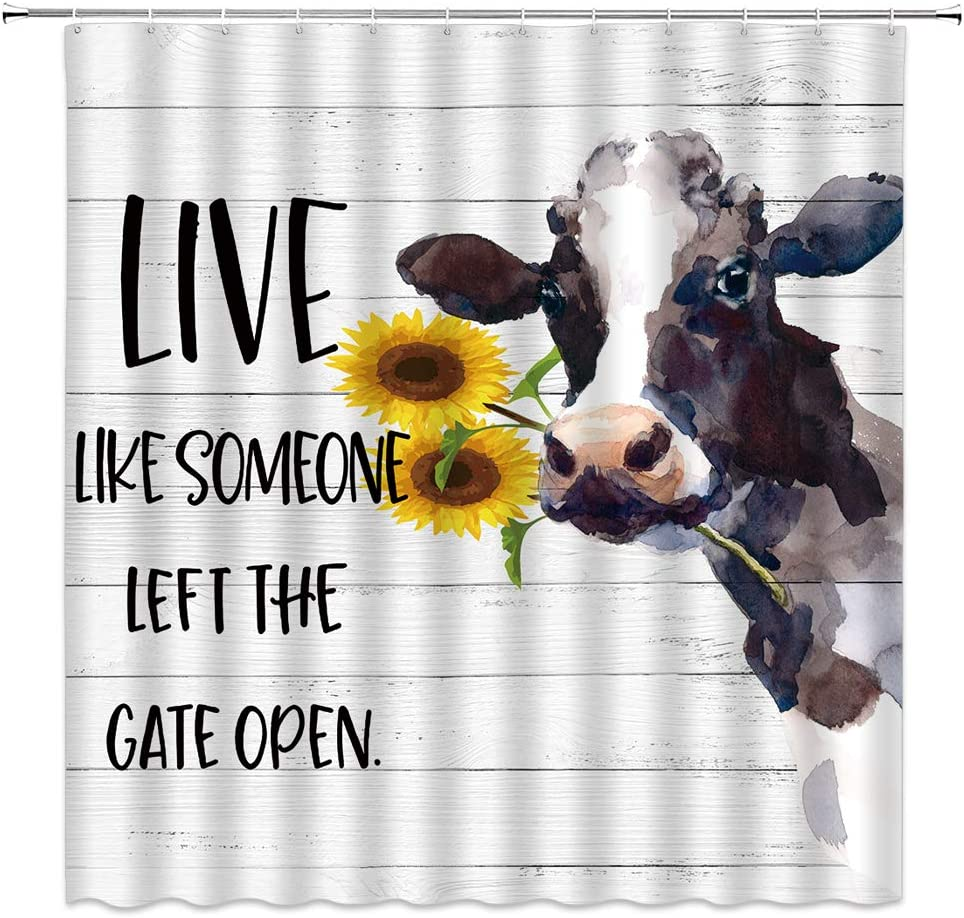 dachengxing Farm Animal Shower Curtain Milk New sales with Popular products Cow Sunflower a