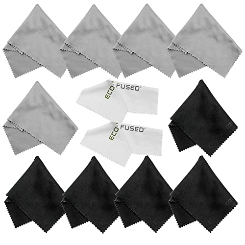 Microfiber Cleaning Cloths - 10 Colorful Cloths and 2 White ECO-FUSED Cloths - Ideal for Cleaning Glasses, Spectacles, Camera Lenses, iPad, Tablets, Phones, iPhone, Android Phones, LCD Screens and Other Delicate Surfaces (Black/Grey)